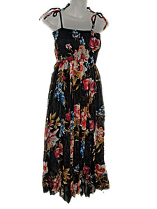 Hawaiian Black Floral Spaghetti Straps Empire Waist Bubble Hem Dress -ADJ S/M