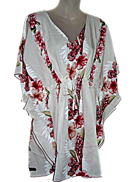 Hawaiian Pink Floral Kaftan Tunic Cover Up Beach Dress Swimwear (M-1X)