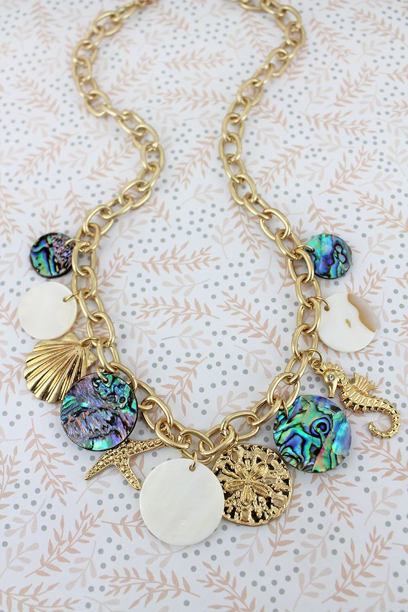 Crave Worn Goldtone Seaside Charm Tropical Necklace