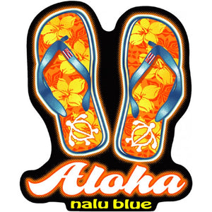 Nalu Blue Hawaiian Hawaii Aloha Slipper Slippahs Flip Flops Decal Sticker