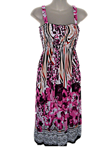Tropical Floral Sun Dress / Beach Cover-Up -602-Large
