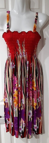 Tropical Floral Sun Dress / Beach Cover-Up -602-Medium