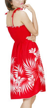 Load image into Gallery viewer, HAWAIIAN RED COCONUT PALMS & PLUMERIA SHORT TUBE TOP SUN DRESS- ONE SIZE (S-L) f02