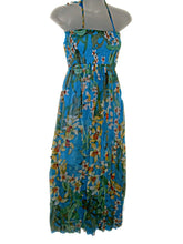 Load image into Gallery viewer, Hawaiian Blue Floral Spaghetti Straps Empire High Waist Bubble Hem Wedding Cruise Dress (Size S/M-)