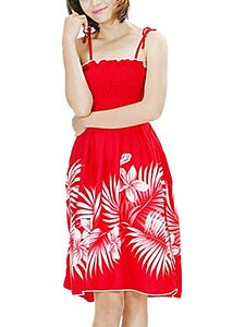 HAWAIIAN RED COCONUT PALMS & PLUMERIA SHORT TUBE TOP SUN DRESS- ONE SIZE (S-L) f02