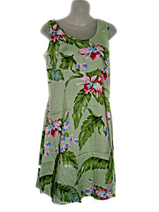 Hawaiian Tropical Green Floral Print Dress for Cruise Wedding (Size S/M )