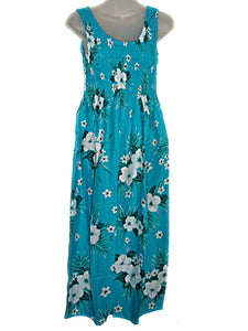 Hawaiian Tropical Floral Tank TOP Long Sun Dress-Luau Cruise One Size (S-L/See Measurements) tc082