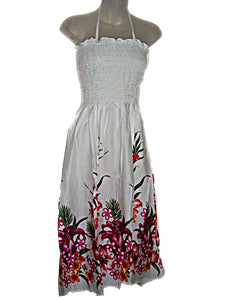 Hawaiian Tropical Sundress Strapless Spaghetti Strap Floral Long Dress- ONE SIZE (M-XL) tc089