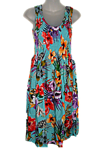 Hawaiian Floral Tropical Orchids Blue Summer Tank Top Sun Dress (S-L-See Measurements) tc086