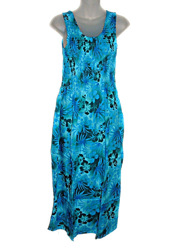 Hawaiian Tye Dye Look Reverse Pattern Hibiscus Maxi Long Tank Top Sun Dress-ONE Size (S-L) tc082