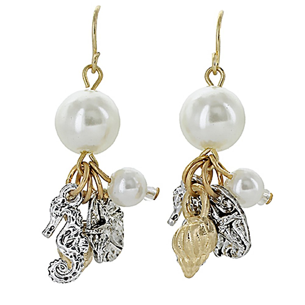 Sea Life Charms & Beads Drop Earrings- Starfish & Seahorse