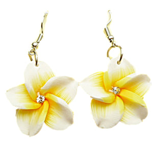 HAWAIIAN PLUMERIA FIMO FLOWER DANGLE PIERCED HOOK EARRINGS w/ CZ Center