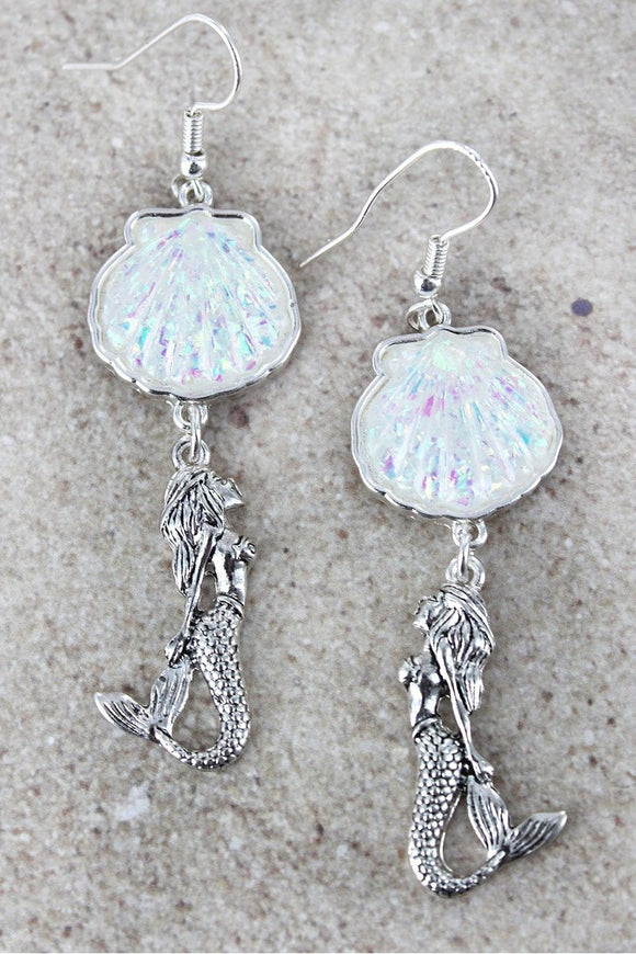 Tropical Sealife Silvertone Mermaid Pierced Hook Earrings