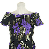 Hawaiian Purple Floral Long Skirt & TOP Set Dress Cruise Luau Wedding (O/S See Measurements) FAF16