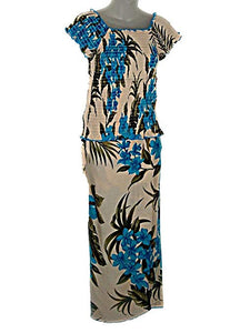 HAWAIIAN CREAM WITH TURQUOISE BLUE FLORAL LONG SKIRT & TOP SET (FAF16)