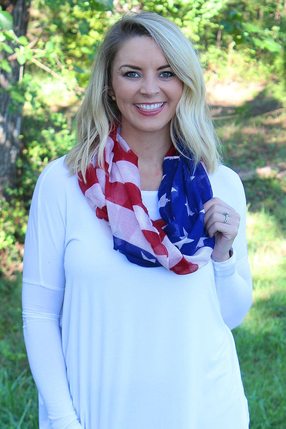 US Flag Patriotic Lightweight Infinity Scarf