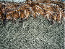 Load image into Gallery viewer, Woven Cable Knit Tube Infinity Loop Cowl Neck Scarf w/Faux Fur Trim Wrap