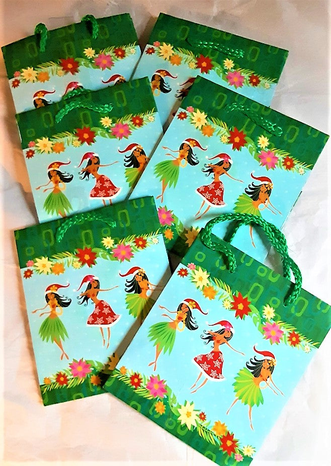 6-Small Gift Bags Hawaiian Holiday Hula Dancers -Great for mask, jewelry...