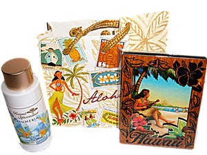 Hawaiian Plumeria Travel Size Lotion & Wood Hula Girl Magnet in Gift Bag Set
