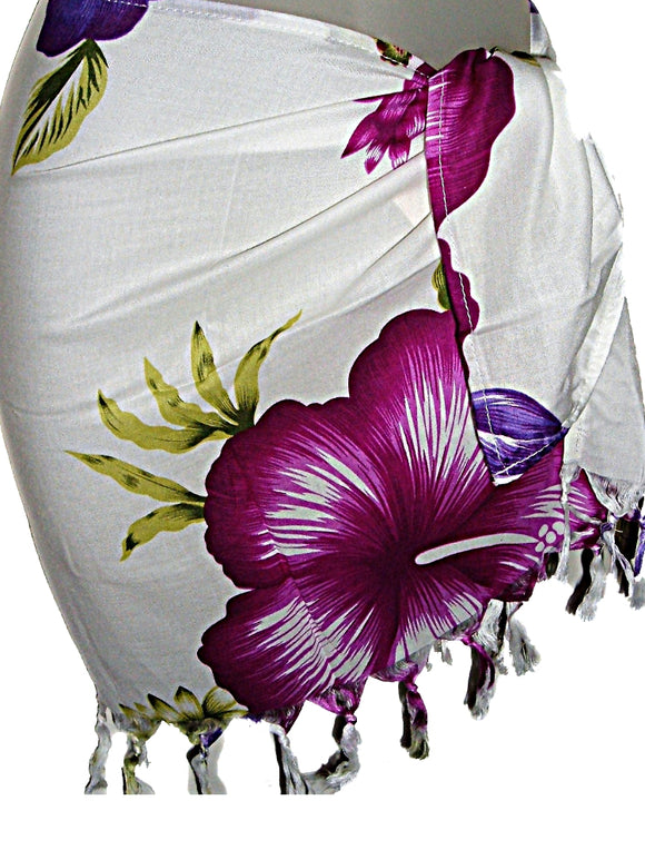 HAWAIIAN PURPLE FLORAL CHILDRENS GIRLS SHORT SARONG
