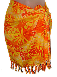 HAWAIIAN HIBISCUS FLOWERS GIRLS/PRE-TEENS SHORT SARONG BEACH COVER UP