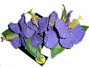 ONE DELUXE PURPLE HAWAIIAN 4 HIBISCUS MAILE LONG HAIR CLIP- MADE IN HAWAII
