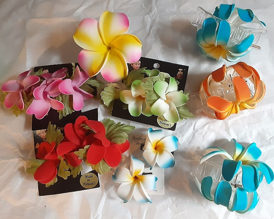 Hawaiian Foam Plumeria Hair Flowers Assorted