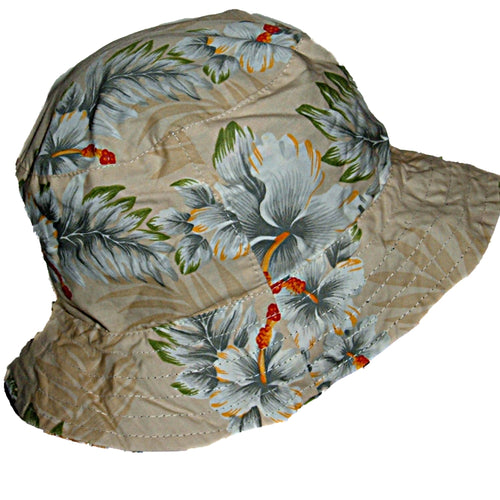 Hawaii Hawaiian Floral Reversible Cloth Fabric Bucket Cap / Hat  Blue