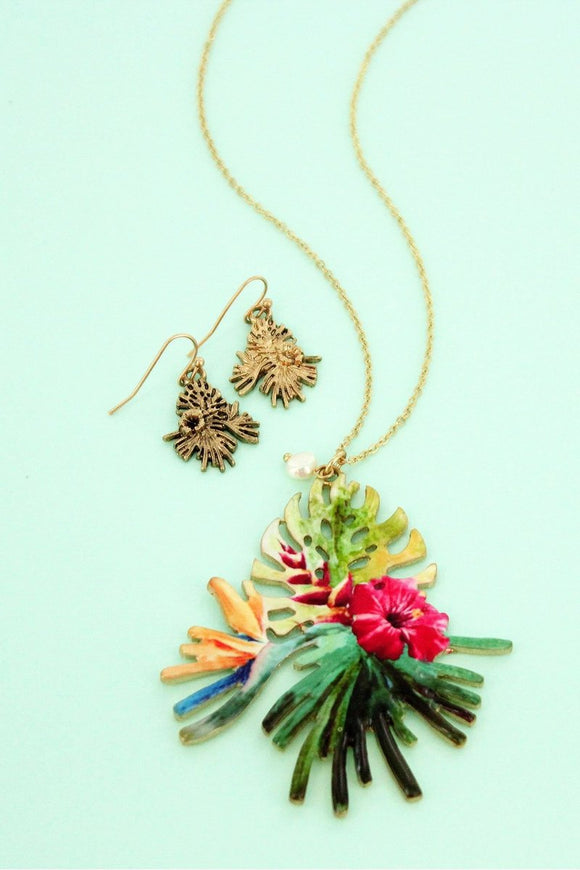 Tropical Hibiscus Palm Leaves Pendant Gold tone Necklace and Earring Set