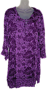 HAWAIIAN FLORAL PURPLE TUNIC SWIMWEAR COVER UP PONCHO KAFTAN- 2X