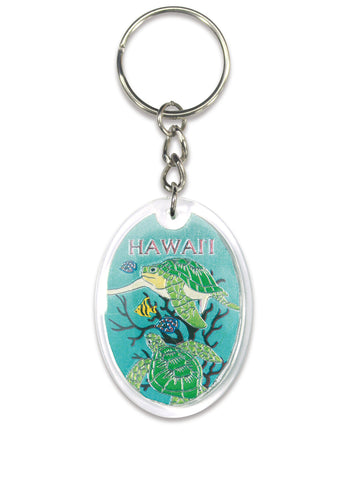 Hawaiian Green Honu Turtles Foil Keychain Key Chain