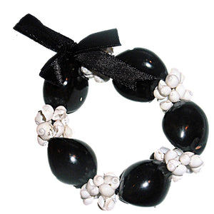 Hawaiian Black Kukui Nut w/White Mongo Shells Stretch Bracelet