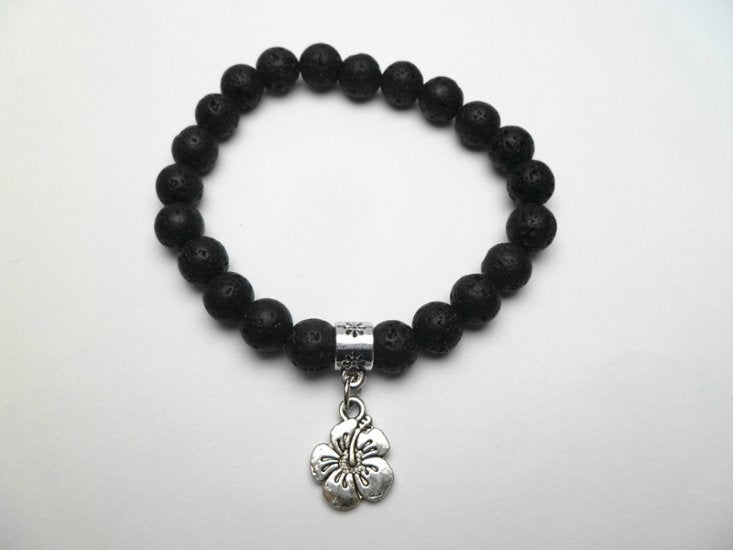 Hawaiian Lava Rock Stone Stretch Bracelet with Metal Plumeria Flower Pendant