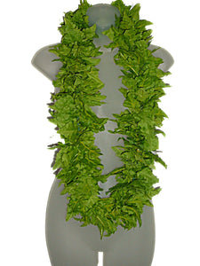 Deluxe Hawaiian Green Leather Fern Silk Hula Wedding Lei Long