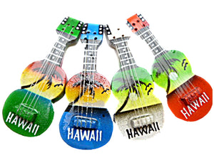 "1-Hawaiian 2 1/2"" Hand Painted Ukulele Uke Keychain Key Chain Hawaii Souvenir"
