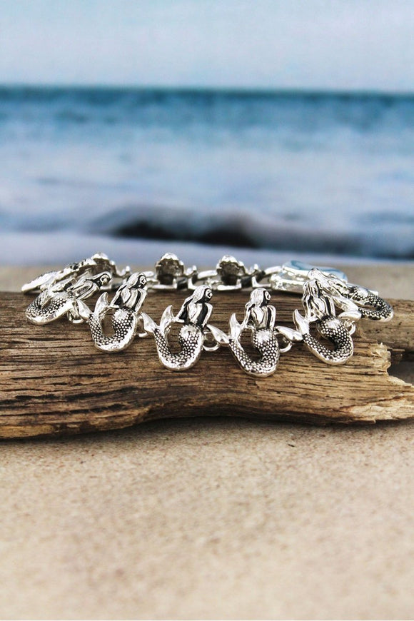 Tropical Sealife Mermaids Magnetic Clasp Silvertone Bracelet