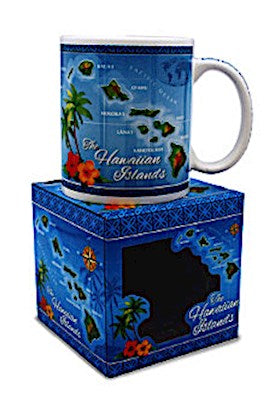 Hawaiian Coffee Mug Map of Hawaii Blue 10 oz Mug