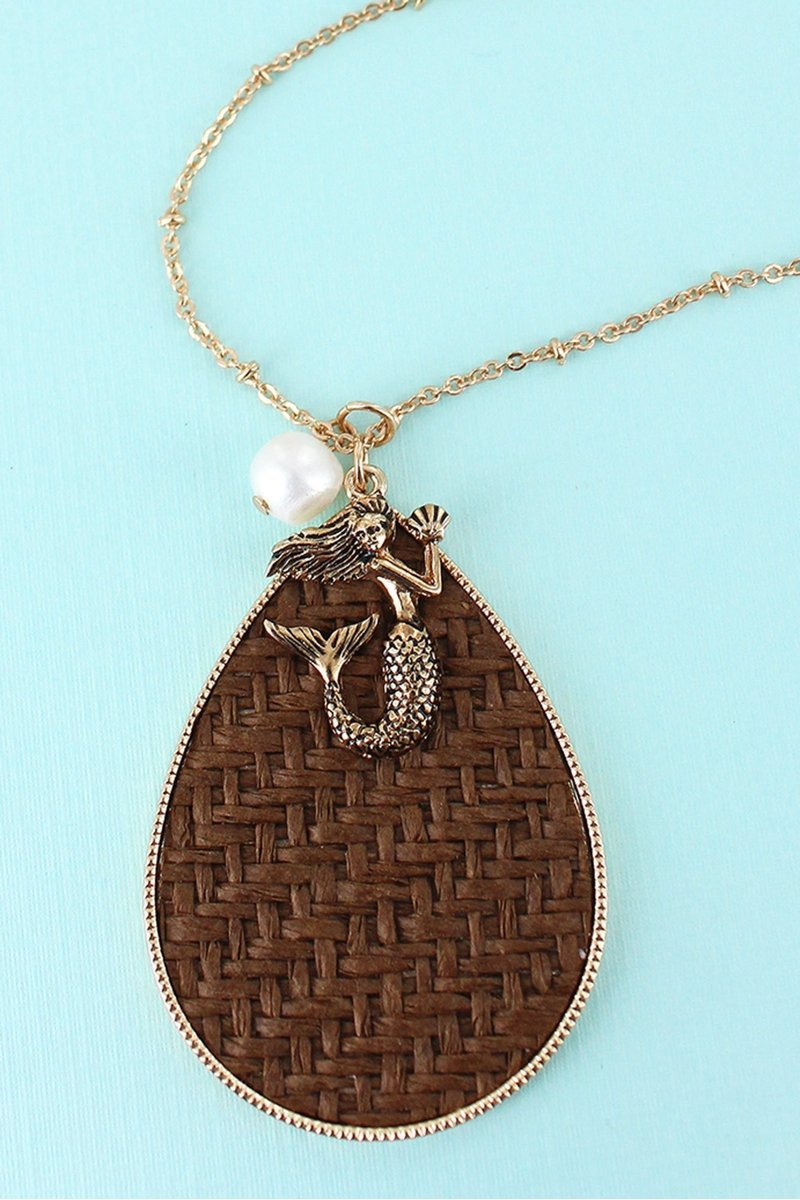 Mermaid Pendant Necklace Brown Rattan Teardrop with Goldtone