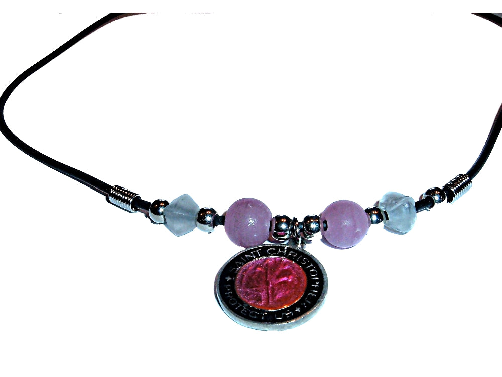 Pewter St. Saint Christopher Medal Pink Glass Bead 16