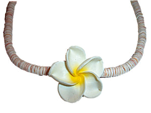HAWAIIAN PLUMERIA FIMO FLOWER YELLOW CENTER NECKLACE & EARRINGS SET