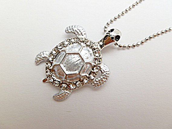 Hawaiian Honu Silver Sea Turtle w/Crystals Pendant 18
