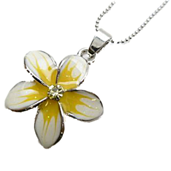 Hawaiian White & Yellow Plumeria w/ Yellow CZ Crystal Pendant Ball Chain