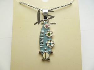 "Hawaiian Surfboard with Honu Turtle Pendant w/C.Z Stone w/ball Chain 18"" necklace"