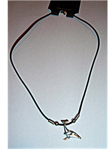 Hawaiian Hawaii Humpback Whale Pewter Pendant on a Rubber Chord Necklace 16""