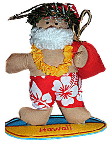Hawaiian Style Surfing Surfer Santa Fabric Christmas Ornament