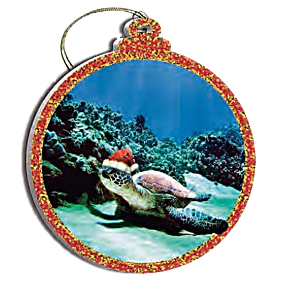 2 -Hawaiian Honu Tropical Sealife Sea Turtle Santa Hat Christmas Ornaments
