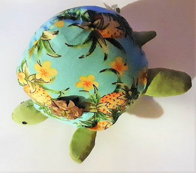 Hawaiian Pineapples & Plumeria Stuffed Honu Turtle Pin Cushion