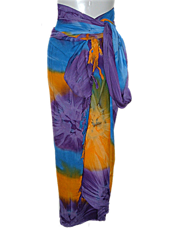 Hawaiian Tye TIE DYE Plus Size Sarong Lava Lava Beach Cover UP 84