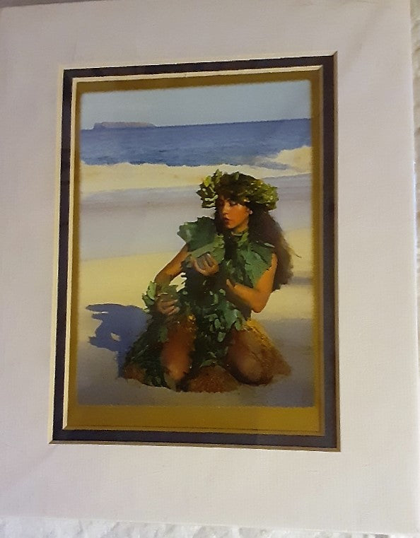 Hawaiian Hula Girl Matted Art Print 5x7