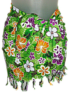 TROPICAL HAWAIIAN FLOWERS GIRLS/TEENS SHORT SARONG